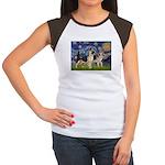Starry / 2 German Shepherds Women's Cap Sleeve T-S