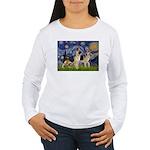 Starry / 2 German Shepherds Women's Long Sleeve T-