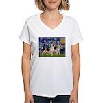 Starry / 2 German Shepherds Women's V-Neck T-Shirt