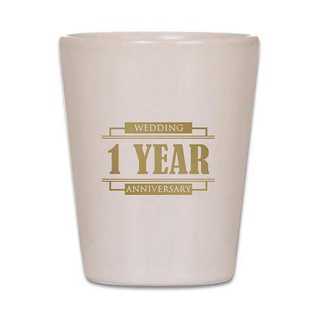 Stylish 1st Wedding Anniversary Shot Glass