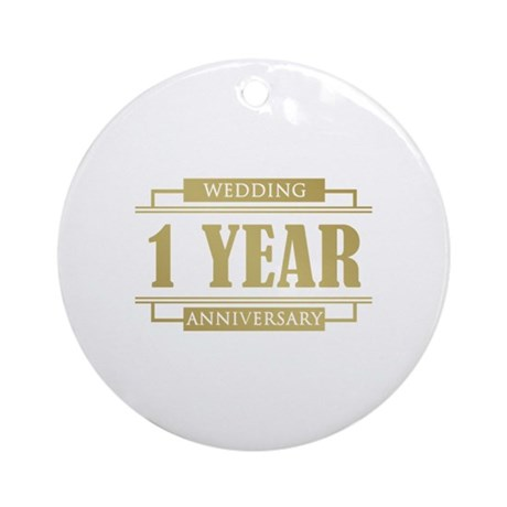 Stylish 1st Wedding Anniversary Ornament (Round)