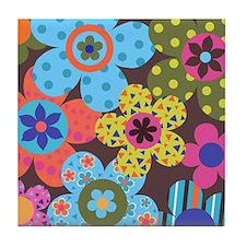 Retro Flowerz Tile Coaster