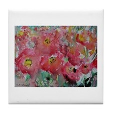 Poppies, red flowers, art, Tile Coaster