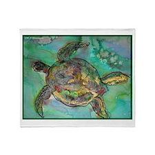 Sea Turtle, nature art, Throw Blanket