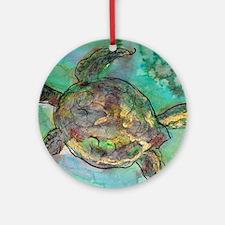 Sea Turtle, nature art, Ornament (Round)