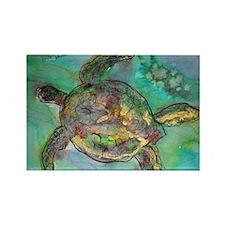 Sea Turtle, nature art, Rectangle Magnet