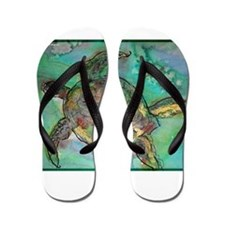 Sea Turtle, nature art, Flip Flops