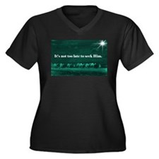 """""""Not Too Late"""" Women's Plus Size V-Neck Dark T-Shi"""