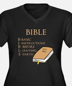 BIBLE Women's Plus Size V-Neck Dark T-Shirt