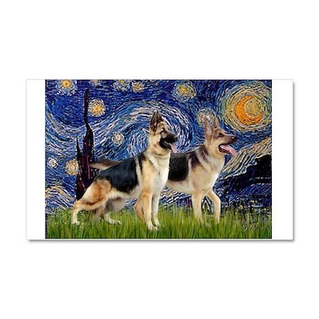 Starry / 2 German Shepherds Car Magnet 20 x 12