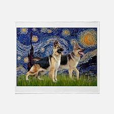 Starry / 2 German Shepherds Throw Blanket