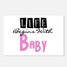 Life Begins With Baby Postcards (Package of 8)