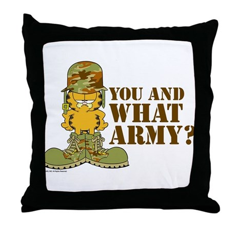 Army Garfield Throw Pillow