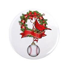 "Baseball Christmas Wreath 3.5"" Button"