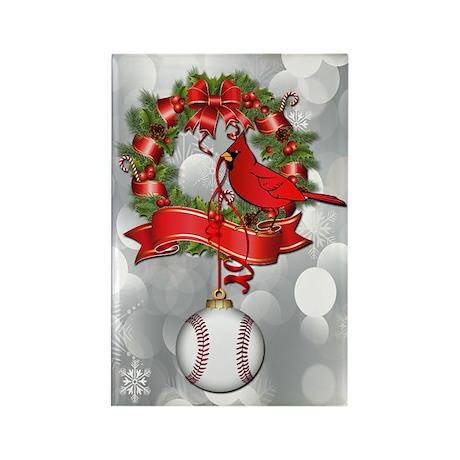 Baseball Christmas Wreath Rectangle Magnet