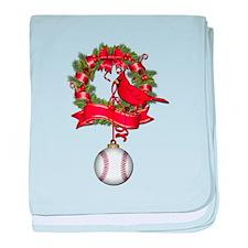Baseball Christmas Wreath baby blanket