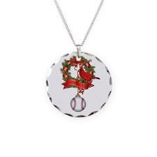 Baseball Christmas Wreath Necklace