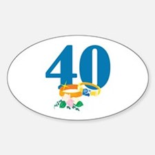 40th Anniversary w/ Wedding Rings Decal