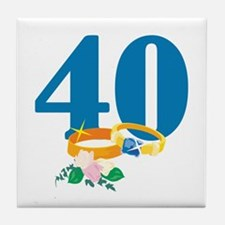 40th Anniversary w/ Wedding Rings Tile Coaster
