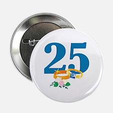 "25th Anniversary w/ Wedding Rings 2.25"" Button (10"