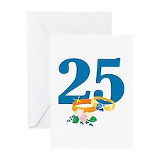 25th Anniversary w/ Wedding Rings Greeting Card