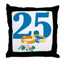 25th Anniversary w/ Wedding Rings Throw Pillow
