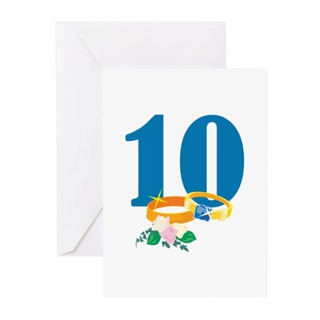 10th Anniversary w/ Wedding Rings Greeting Cards (