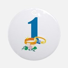 1st Anniversary w/ Wedding Rings Ornament (Round)