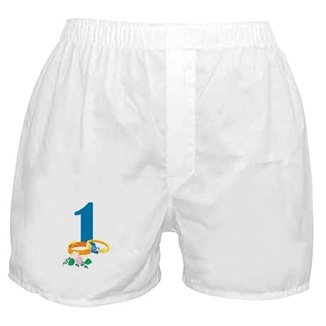 1st Anniversary w/ Wedding Rings Boxer Shorts