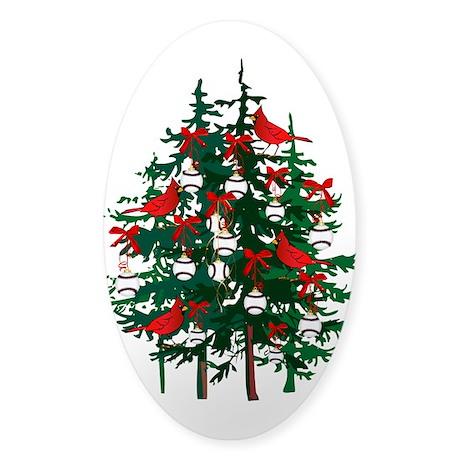 Baseball Christmas Tree Sticker (Oval 10 pk)