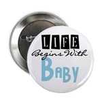 Life Begins With Baby (blue) Button