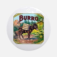 Burro Cigar Label Ornament (Round)