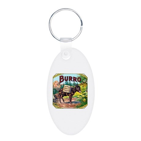 Burro Cigar Label Aluminum Oval Keychain