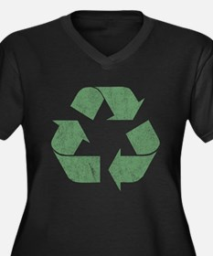 Vintage Recycle Logo Women's Plus Size V-Neck Dark