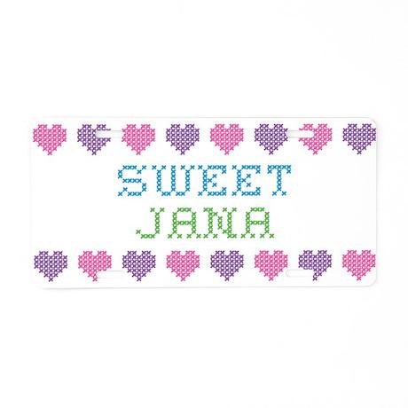 Sweet JANA Aluminum License Plate