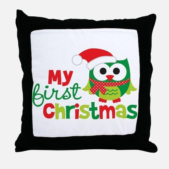 My First Christmas Owl Throw Pillow