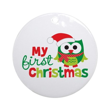 My First Christmas Owl Ornament (Round)