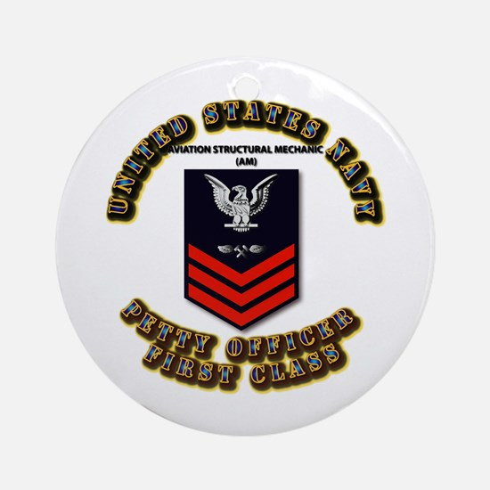 US Navy - AM with text Ornament (Round)