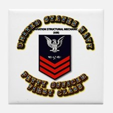 US Navy - AM with text Tile Coaster