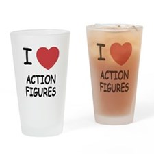 I heart action figures Drinking Glass