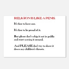 Religion is Like a Penis Postcards (Package of 8)