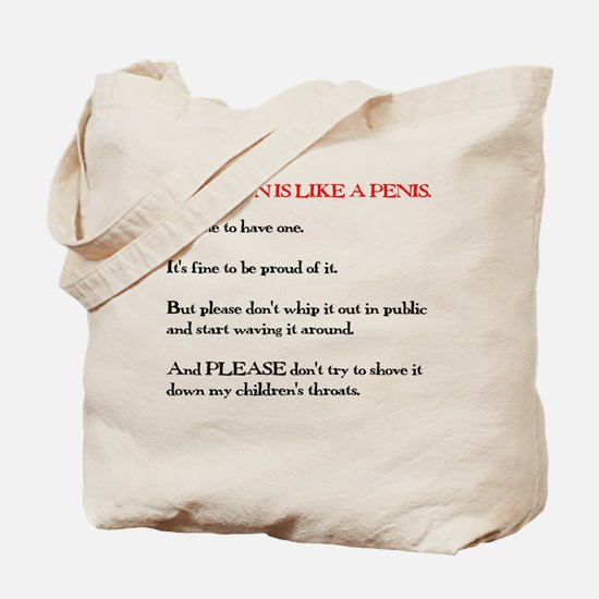 Religion is Like a Penis Tote Bag