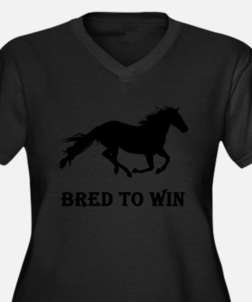 Bred To Win Horse Racing Women's Plus Size V-Neck