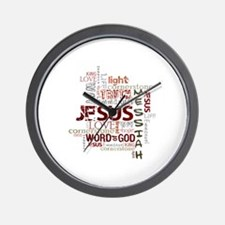 Jesus Word Cloud Wall Clock