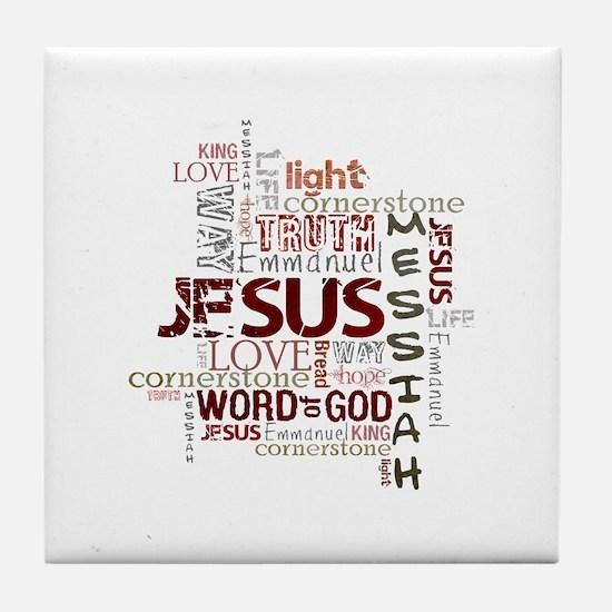 Jesus Word Cloud Tile Coaster