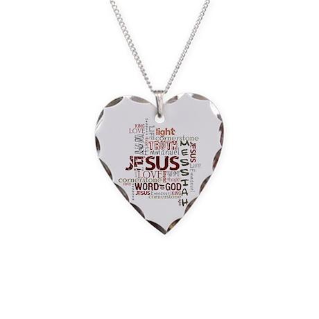 Jesus Word Cloud Necklace Heart Charm