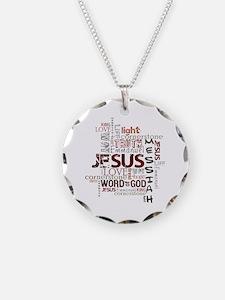 Jesus Word Cloud Necklace Circle Charm