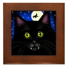 HALLOWEEN BLACK CAT VAMPIRE Framed Tile