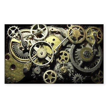 SteamPunk Gears Sticker (Rectangle)