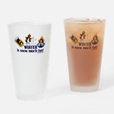 Snow Penguins Drinking Glass